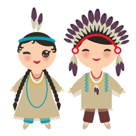 アメリカのインディアンカワイイ少年少女は、国民的な衣装を着ています。伝統的なドレスを着た漫画の子供たちは、白い背景に孤立したアメリカ  イラスト・ベクター素材