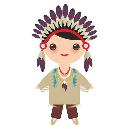 アメリカのインディアンカワイイ少年は国民的衣装を着ている。伝統的なドレスを着た漫画の子供たちは、白い背景に孤立したアメリカ大陸の先住