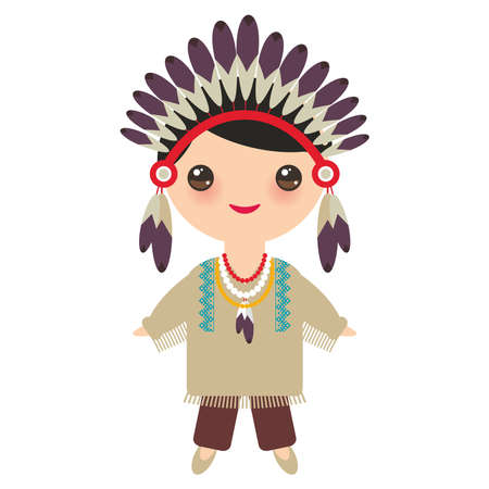American indians Kawaii boy in national costume. Cartoon children in traditional dress Indigenous peoples of the Americas isolated on white background. Vector illustration