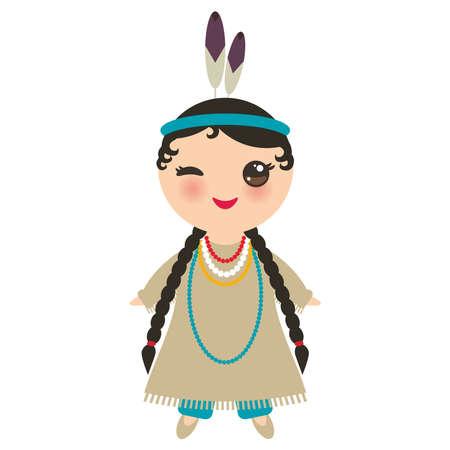 アメリカのインディアンカワイイ女の子は、国民的な衣装を着ています。伝統的なドレスを着た漫画の子供たちは、白い背景に孤立したアメリカ大