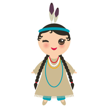 American indians Kawaii girl in national costume. Cartoon children in traditional dress Indigenous peoples of the Americas isolated on white background. Vector illustration