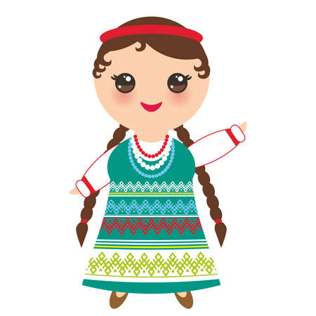 Slavic girl in a green sundress and white shirt with embroidery, hair braided two braids child in national costume. Cartoon children in traditional dress isolated on white background. Vector illustration. 일러스트
