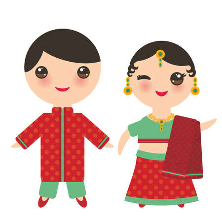 Indian Kawaii boy and girl in national costume. Cartoon children in traditional India dress sari isolated on white background. Vector illustration