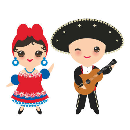 Cubans boy and girl in national costume and hat. Cartoon children in traditional Cuba dress, guitar. Isolated on white background. Vector illustration.