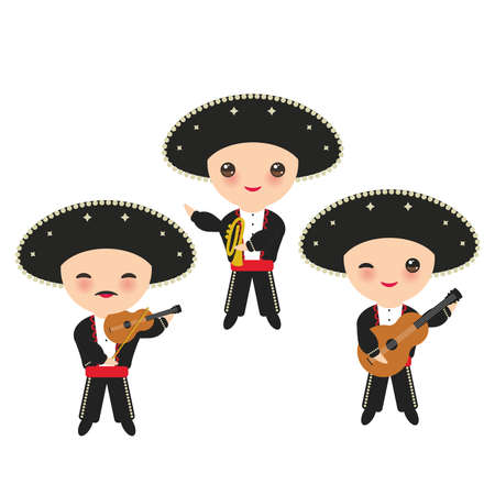 Cubans boy in national costume and hat. Cartoon children in traditional Cuba dress, Mariachi group Musical instruments guitar, viola, violin, trumpet. Isolated on white background. Vector illustration.