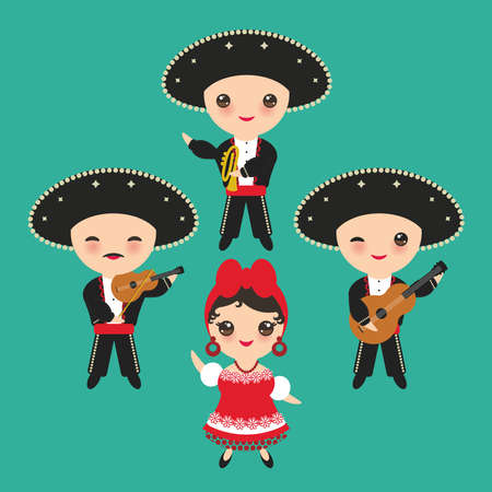 Cubans boy and girl in national costume and hat. Cartoon children in traditional Cuba dress, Mariachi group Musical instruments guitar, viola, violin, trumpet. on blue background. Vector illustration.
