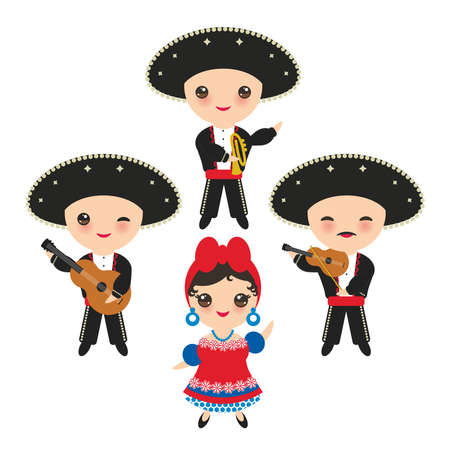 Cubans boy and girl in national costume and hat. Cartoon children in traditional Cuba dress, Mariachi group Musical instruments guitar, viola, violin, trumpet. Isolated on white background. Vector illustration.