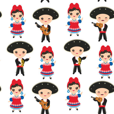 #94500119 - Seamless pattern Cubans boy and girl in national costume and hat. Cartoon children in traditional Cuba dress Mariachi group.  sc 1 st  123RF.com & Kids In Different Traditional Costumes Jamaica Cuba Mexico Royalty ...