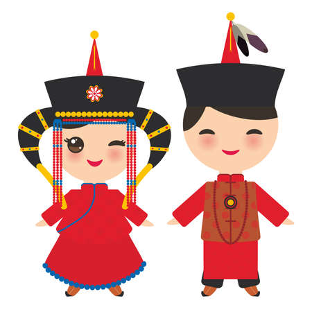 Mongolian boy and girl in red national costume and hat. Cartoon children in traditional dress. Vector illustration.