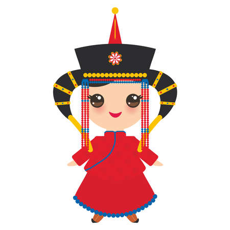 Mongolian girl in red national costume and hat. Cartoon children in traditional dress on white background. Vector illustration.