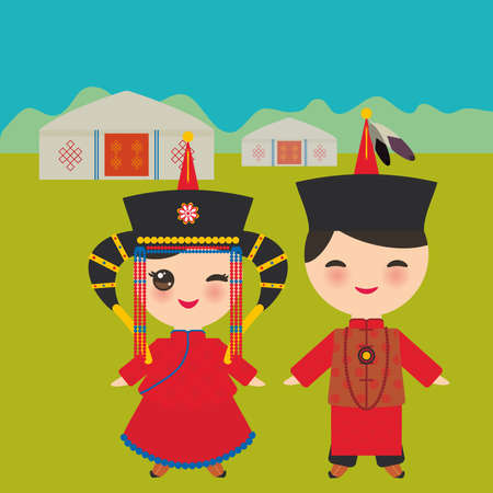 Mongolian boy and girl in red national costume and hat. Cartoon children in traditional dress. Landscape steppe, mountains, sky, home yurt. Vector illustration. Vectores