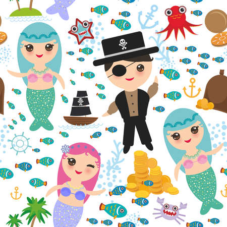 Seamless pattern mermaid with pirate. Boat with sail, gold coins, crab, octopus, starfish and more. Isolated on white background. Vector illustration. Иллюстрация