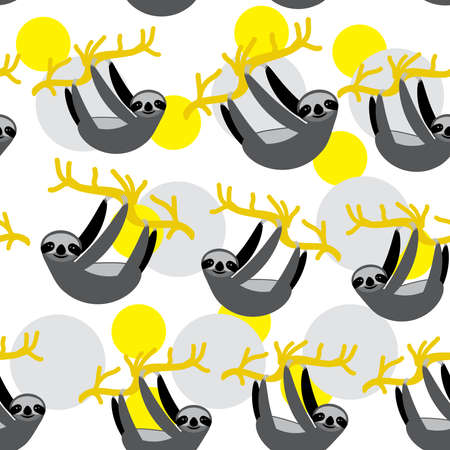 Seamless pattern funny and cute smiling three-toed sloth on branch tree creeper, mustard yellow gray trendy background. Vector illustration.