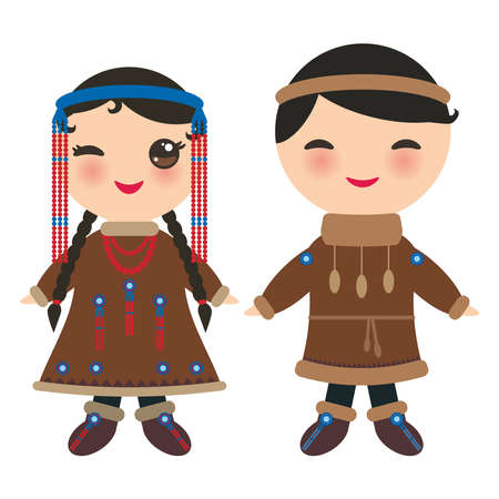 Chukcha Yakut Eskimos boy and girl in national costume and hat. Cartoon children in traditional Alaska dress. Isolated on white background. Vector illustration. Illustration