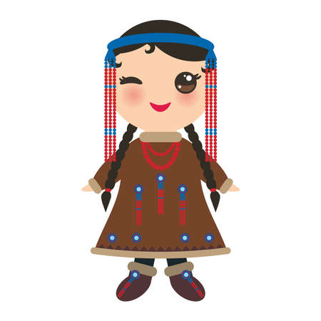 Chukcha Yakut Eskimos girl in national costume. Cartoon children in traditional Alaska dress. Isolated on white background. Vector illustration.