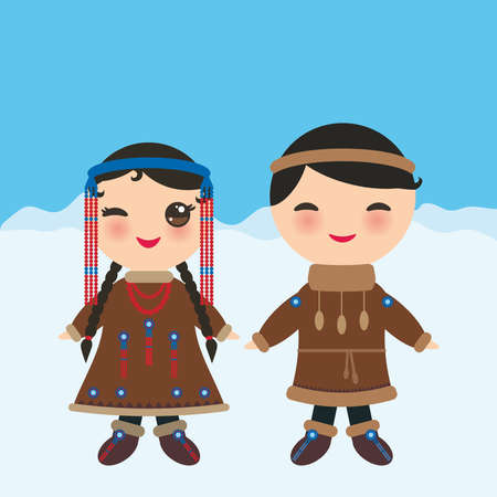 Chukcha Yakut Eskimos boy and girl in national costume and hat. Cartoon children in traditional Alaska dress. Landscape snow, ice, sky. Vector illustration.