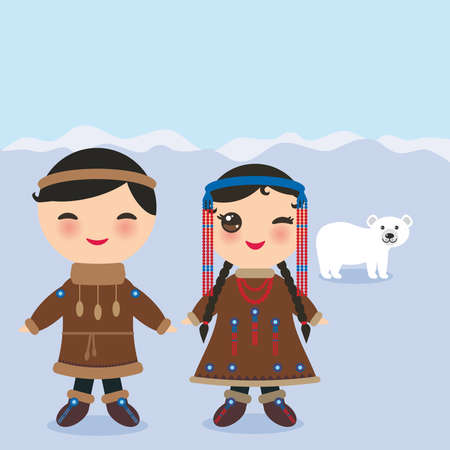 Chukcha Yakut Eskimos boy and girl in national costume and hat. Cartoon children in traditional alaska dress. Landscape Snow, ice, polar bear, sky. Vector illustration Illustration