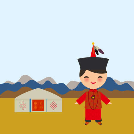 Mongolian boy in red national costume and hat. Cartoon children in traditional dress. Landscape steppe, mountains, sky, home yurt. Vector illustration