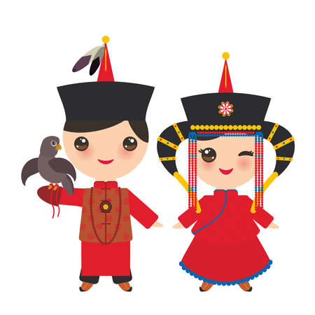 Mongolian boy and girl in red national costume and hat. Cartoon children in traditional dress. Hunter, hunting with an eagle. Vector illustration Illustration