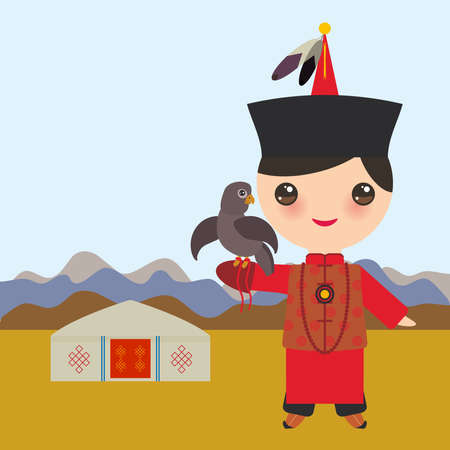 Mongolian boy in red national costume and hat. Cartoon children in traditional dress. Hunter, hunting with an eagle. Vector illustration