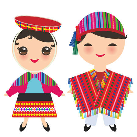 Peruvian boy and girl in national costume and hat. Cartoon children in traditional dress isolated on white background. Vector illustration