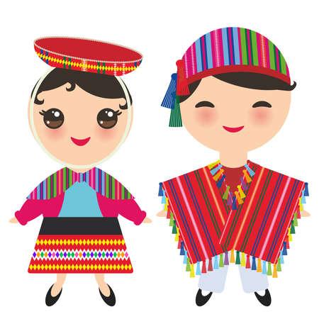 Peruanischer Junge und Mädchen im nationalen Kostüm und im Hut. Karikaturkinder im Trachtenkleid lokalisiert auf weißem Hintergrund. Vektor-illustration