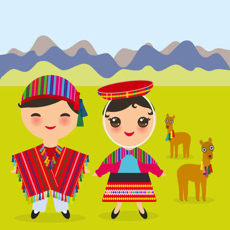 Peruvian boy and girl in national costume and hat. Cartoon children in traditional dress Landscape with mountains, green grass, llamas. Vector illustration