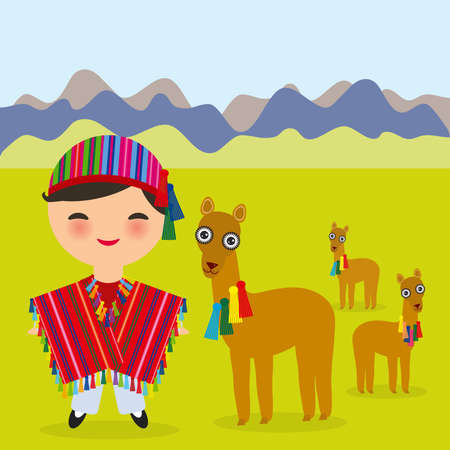 Peruvian boy in national costume Red striped poncho and hat. Cartoon children in traditional dress Landscape with mountains, green grass, llamas. Vector illustration