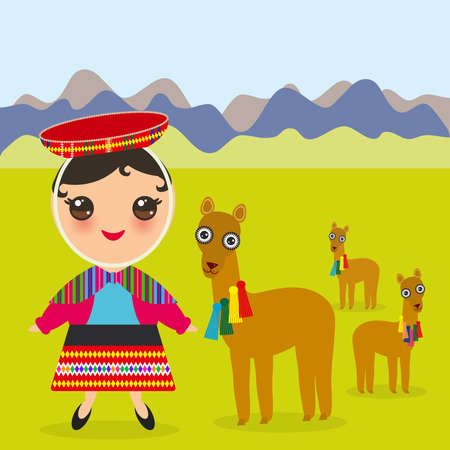 Peruvian girl in national costume and hat. Cartoon children in traditional dress Landscape with mountains, green grass, llamas. Vector illustration Illustration