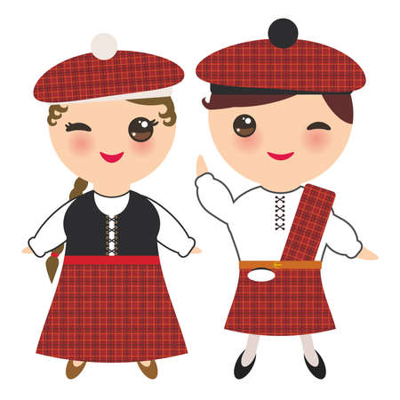 Scotsman boy and girl in national costume and hat. Cartoon children in traditional Scotland dress, guitar. Isolated on white background. Vector illustration Çizim