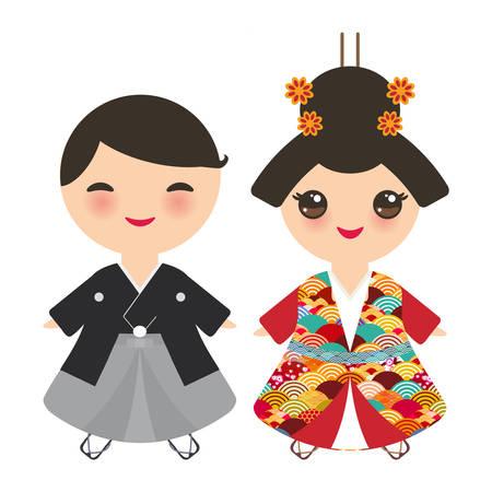 일본 소년과 소녀 국가 의상입니다. 기모노, 전통 의상에 만화 애들. 일본 사쿠라 웨이브 원형 패턴 빨간색 부르고뉴 색상 카드 배너 디자인 흰색 배경