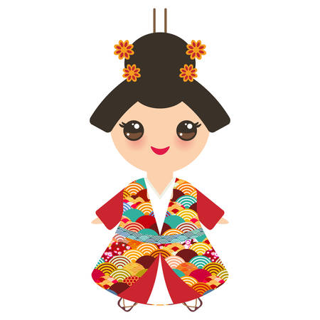 Japanese girl in national costume. kimono, Cartoon children in traditional dress. Japan sakura wave circle pattern red burgundy colors card banner design isolated on white background. Vector illustration
