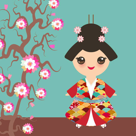 Japanese girl in national costume. kimono, Cartoon children in traditional dress. Japan wave circle pattern red burgundy card banner design on blue background. Sakura branch with pink flowers. Vector illustration