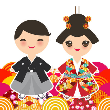 Japanese boy and girl in national costume. kimono, Cartoon children in traditional dress. Japan sakura wave circle pattern orange red burgundy colors card banner design on white background. Vector illustration Illustration