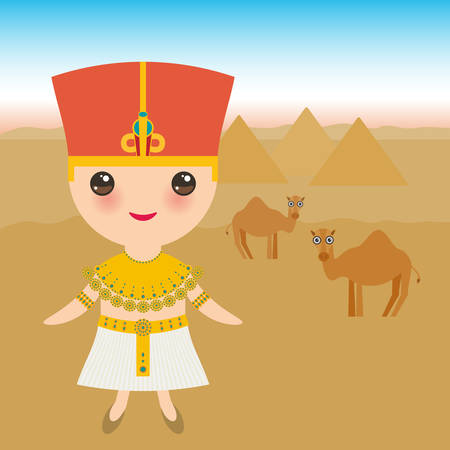 Ancient Egypt boy in national costume and hat. Cartoon children in traditional dress. Ancient Egypt, pyramids, desert, camels. Vector illustration