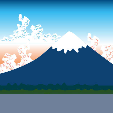 Mount Fuji, nature Flat mountain japan landscape. Water lake, forest mountain with snow-capped peaks, white clouds, blue pink sky, sunrise sunset. Vector illustration Illustration