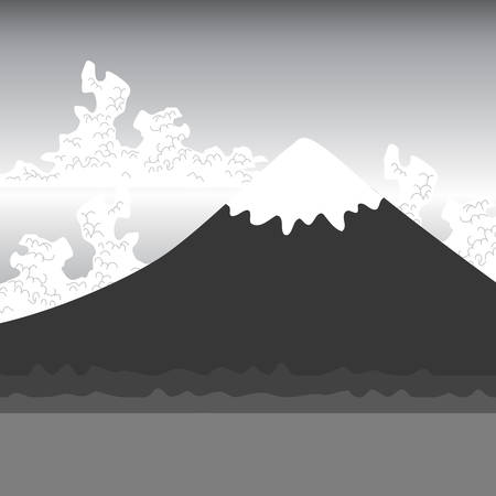 Mount Fuji, nature Flat mountain japan landscape. Water lake, forest mountain with snow-capped peaks, white clouds, sky, black gray. Vector illustration Illustration