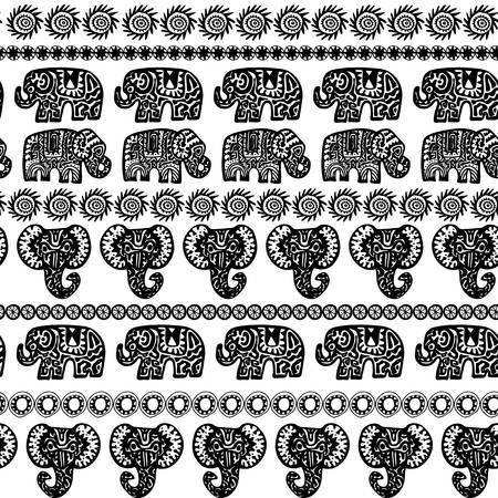Beautiful seamless pattern Indian Elephant with ornamental strips. Hand drawn ethnic tribal decorated Elephant. Black contour isolated on white endless background. Vector illustration Ilustração