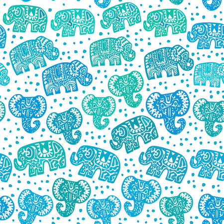 Beautiful seamless pattern Indian Elephant with polka dot ornaments. Hand drawn ethnic tribal decorated Elephant. Turquoise green blue teal contour isolated on white endless background. Vector illustration