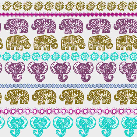 Beautiful seamless pattern Indian Elephant with ornamental strips. Hand drawn ethnic tribal decorated Elephant. teal purple olive green pink contour isolated on white endless background. Vector illustration Illusztráció