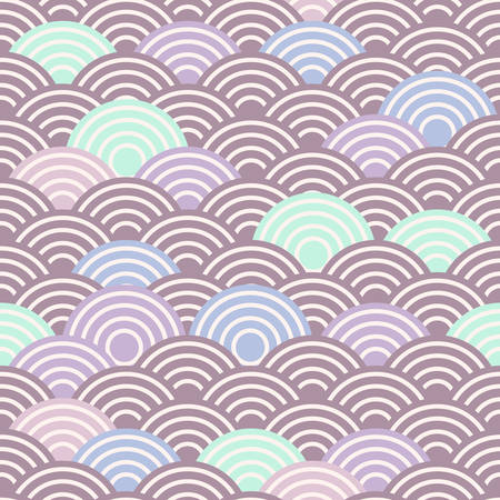 seamless pattern abstract scales simple Spring Nature background with japanese wave circle pattern purple pink blue green brown pastel colors light background. Vector illustration