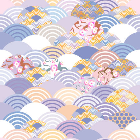 Seamless pattern fish scales simple Nature background with Japanese Sakura flower, rosy pink Cherry, wave circle violet purple cobalt orange burgundy colors. Vector illustration