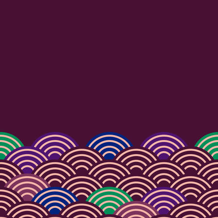 fish scales simple Nature background with japanese sakura flower, Dark claret blue green violet, wave circle pattern card banner design on purple background. Vector illustration