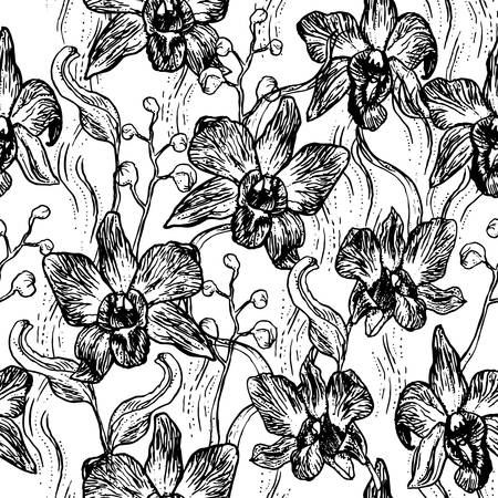 Beautiful Orchid. Hand drawn set isolated on white background black contour sketch seamless pattern, card banner design. Vector illustration