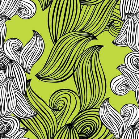 seamless pattern wave black and white hand-drawn lime green background for wallpaper, pattern fills, web page background,surface textures. Adult Coloring. Vector illustration