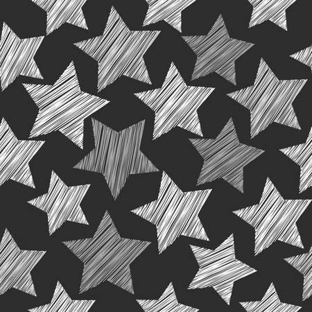 Sketch seamless pattern with stars. white gray stars on Black background. Geometric abstract background for site, blog, fabric. Vector illustration