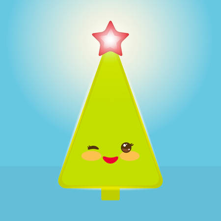 Kawaii Happy New Year card. Funny green Christmas tree with a red star smiling and winking eye. Vector illustration