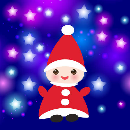 Kawaii Happy New Year card, Funny gnome in red hats on blue background with stars. Vector illustration