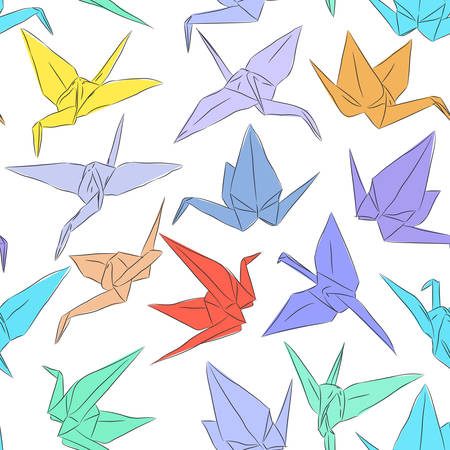 Japanese Origami paper cranes symbol of happiness, luck and longevity, sketch seamless pattern. purple blue yellow orange red brown green line on white background. Vector illustration