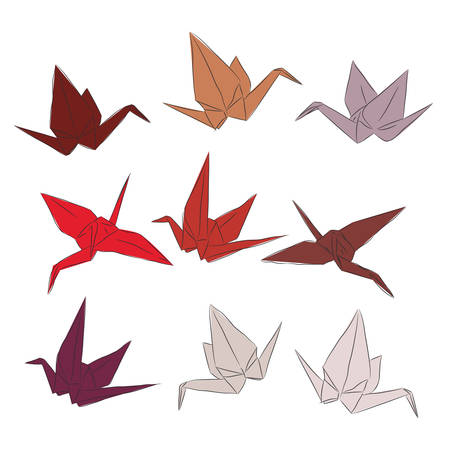 Japanese Origami paper cranes set orange red white pink, symbol of happiness, luck and longevity, sketch. orange red brown isolated on white background. Vector illustration Illustration